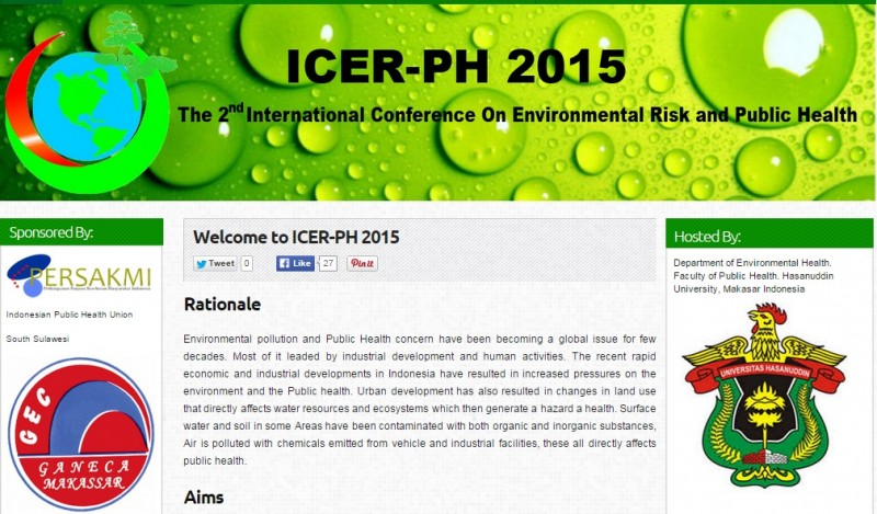 ICER-PH 2015 : The 2nd International Conference on Environmental Risk and Public Health